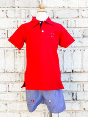 Zuccini Kids Golf Embroidered Red Pique Polo Shirt