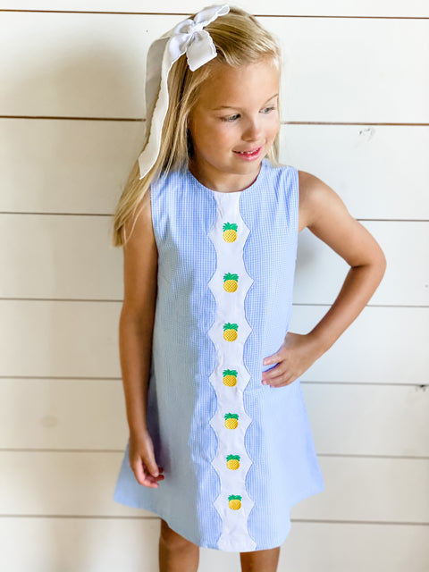 Blue & White Gingham Scallop Dress with Pineapple Embroidery