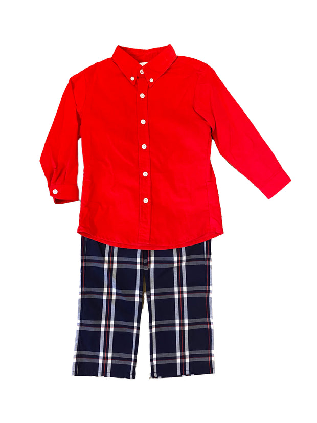 Zuccini Kids Red Corduroy Dress Shirt