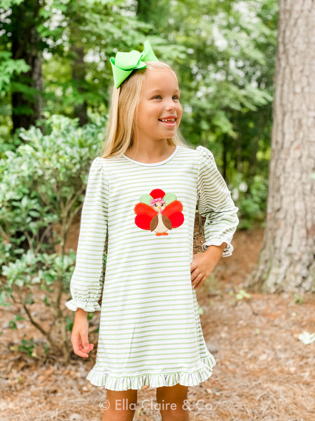 Sage Green Striped Turkey Appliqué Dress
