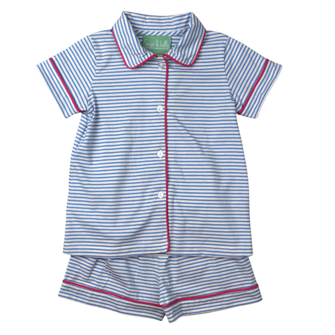 Blue/White Striped PJ's with Fuchsia Piping