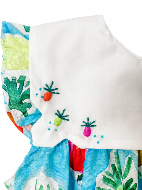 Pineapple Bubble with Embroidered Collar