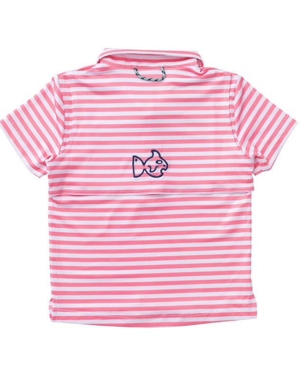 Girl's Performance Polo in Flamingo Pink Stripe PRE-SALE