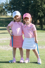 Girl's Performance Polo in Flamingo Pink Stripe