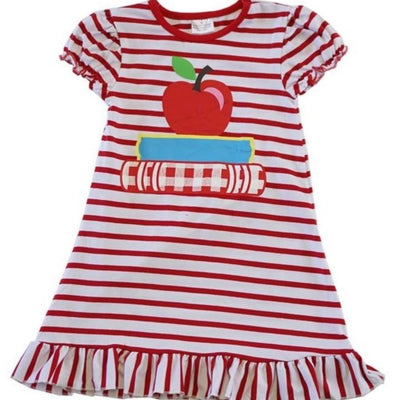 Red Striped Apple & Book Ruffle Dress