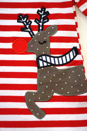 Red striped Reindeer Appliqué Ruffle Dress