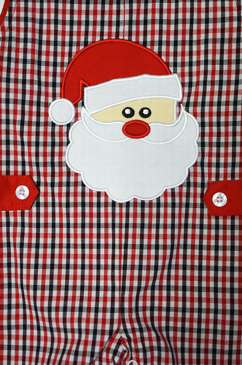 Red Reindeer & Gingham Santa Appliqué Reversible Longall