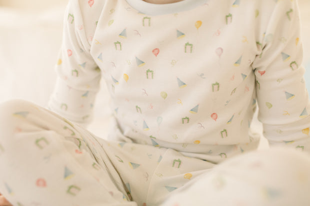 Sweet Pea PJ Set - Party Blue Pima Print
