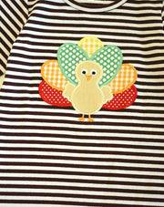 Brown & White Striped Turkey Appliqué Ruffle Dress