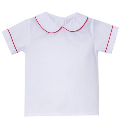 White Short Sleeve Shirt with Red Piping Detail
