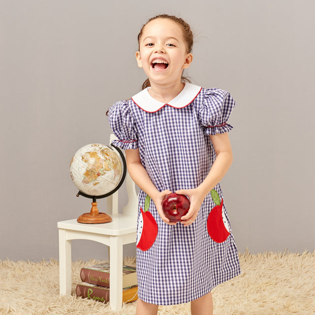 Zuccini Kids Apple Appliqué Short Sleeve Dress