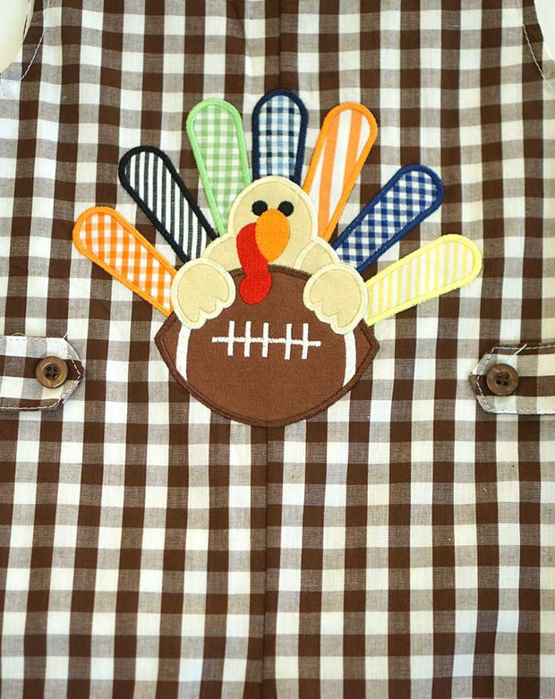 Brown & White Gingham Turkey Appliqué Longall