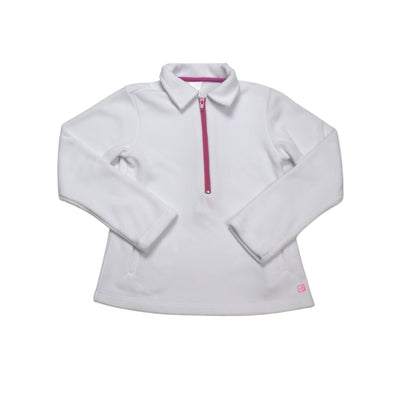 Heather Half Zip Fleece Pullover - White/Hot Pink