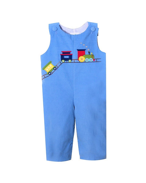Train Appliqué Party Blue Corduroy Longall Set