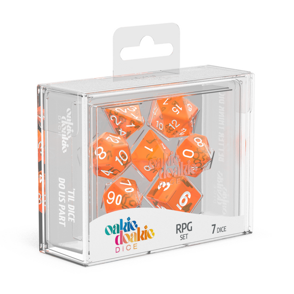 Oakie Doakie Dice RPG Set Translucent - Orange (7) - Oakie Doakie Dice - Rare Roleplay