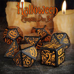 Halloween Pumpkin - Dice Set Black/Orange (7)