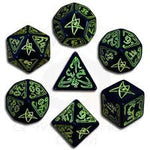 Call of Cthulhu Green/Black Glow in the Dark 7 Die Set - Q-Workshop - Rare Roleplay