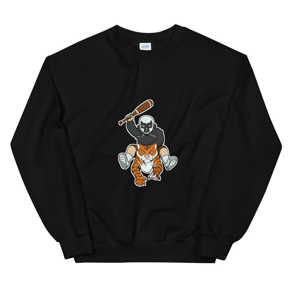 Masked Man Riding Tiger Sweatshirt - Chodmunch