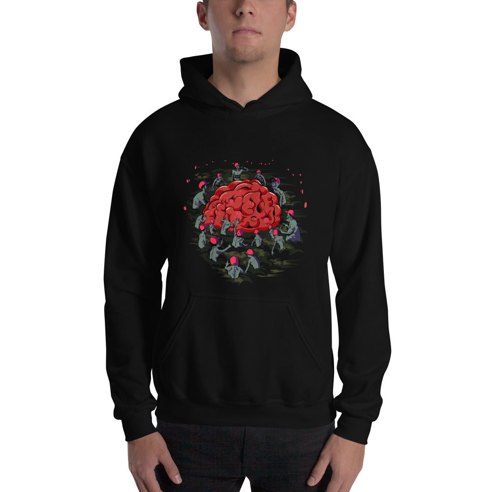 Zombies in Maga Hats reaching for Brain Sweatshirt - Chodmunch
