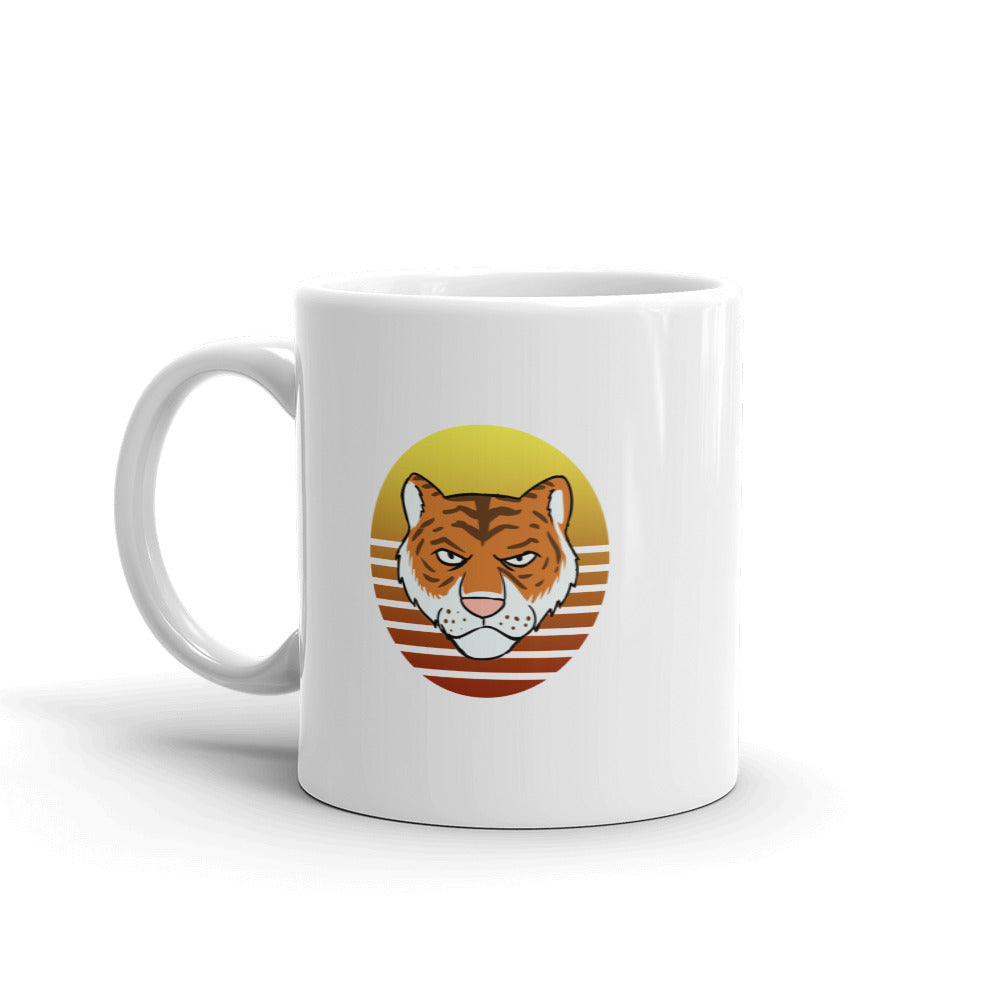 Tiger Retro Sun White Mug - Chodmunch