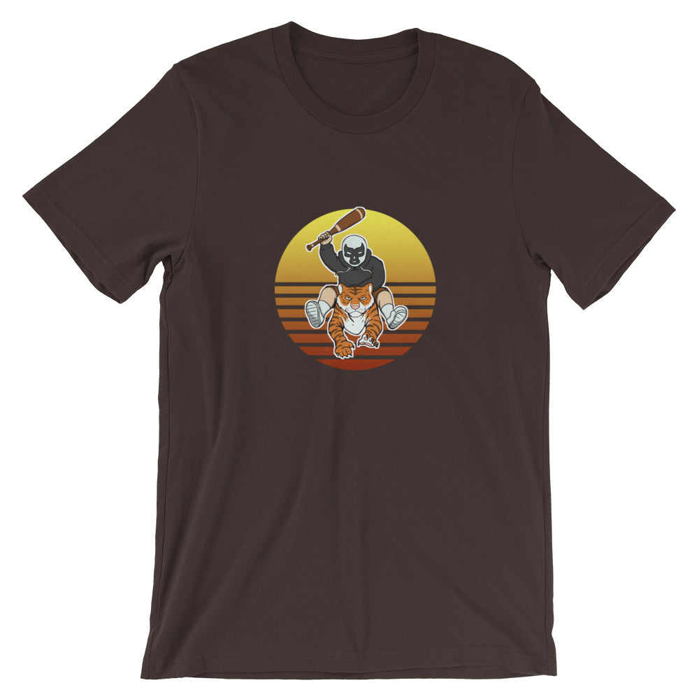 Masked Man Riding Tiger Retro Sun T-Shirt - Chodmunch