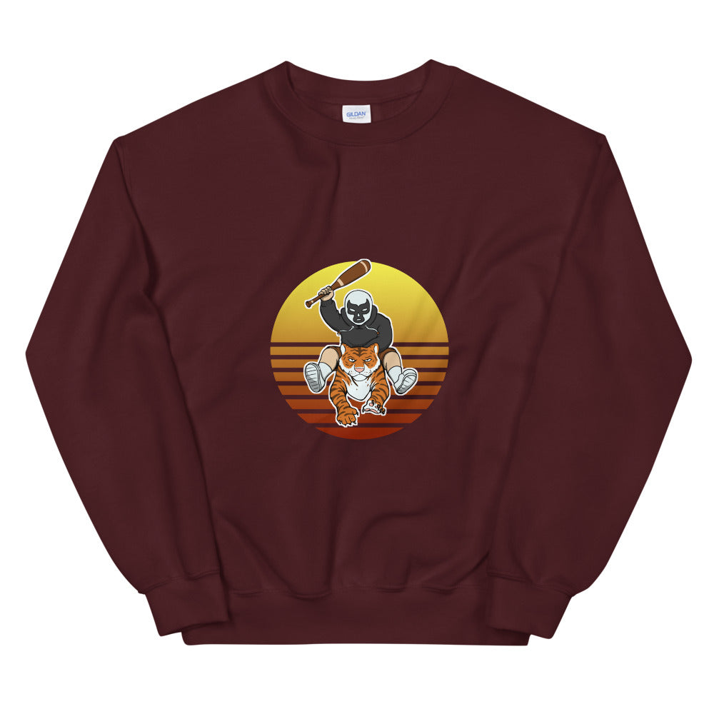Masked Man Riding Tiger Retro Sun Sweatshirt - Chodmunch