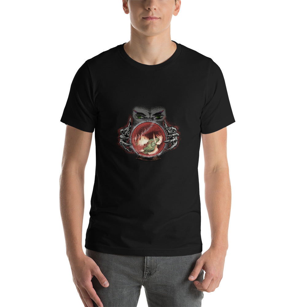 Psychic with Fire and Money in Crystal Ball T-Shirt - Chodmunch