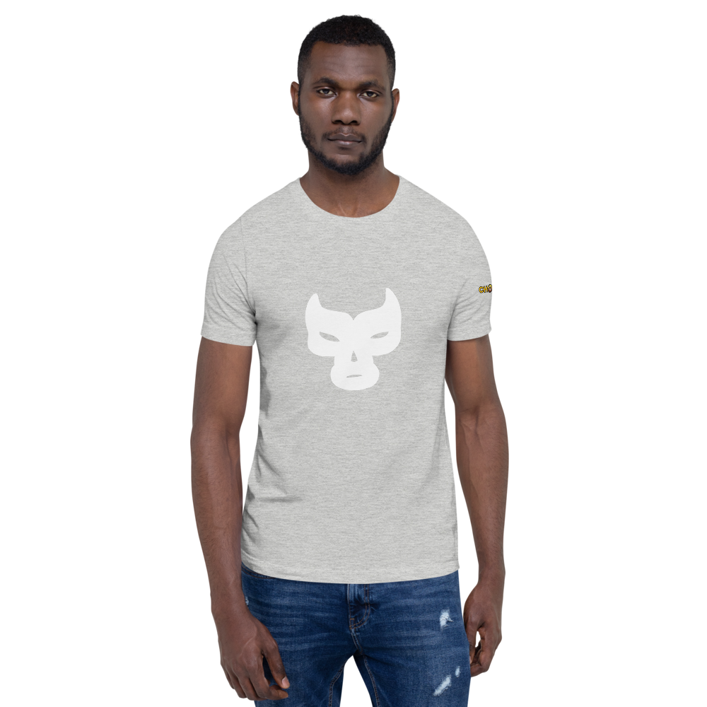 Large White Mask T-Shirt with Logo - Chodmunch