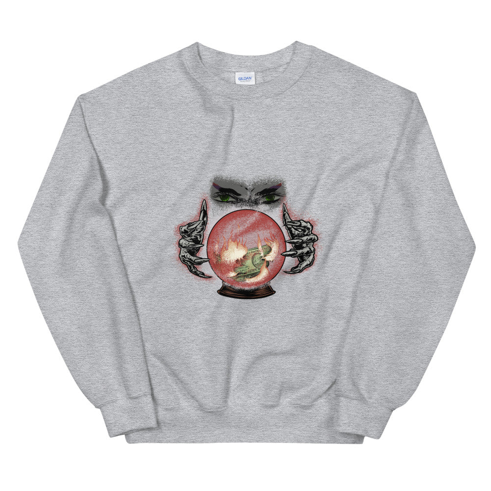 Psychic with Fire and Money in Crystal Ball Sweatshirt - Chodmunch