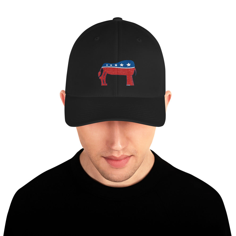 Eledonk Mixed Political Symbols Rear Ends Structured Twill Cap - Chodmunch