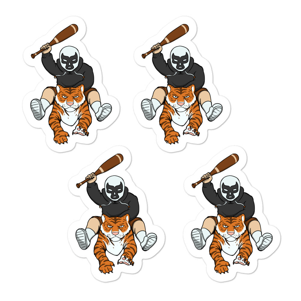 Masked Man Riding Tiger Quality Vinyl Stickers - Chodmunch