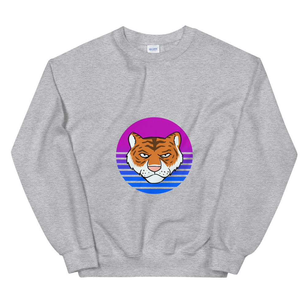 Tiger Retro Blue Sun Sweatshirt - Chodmunch