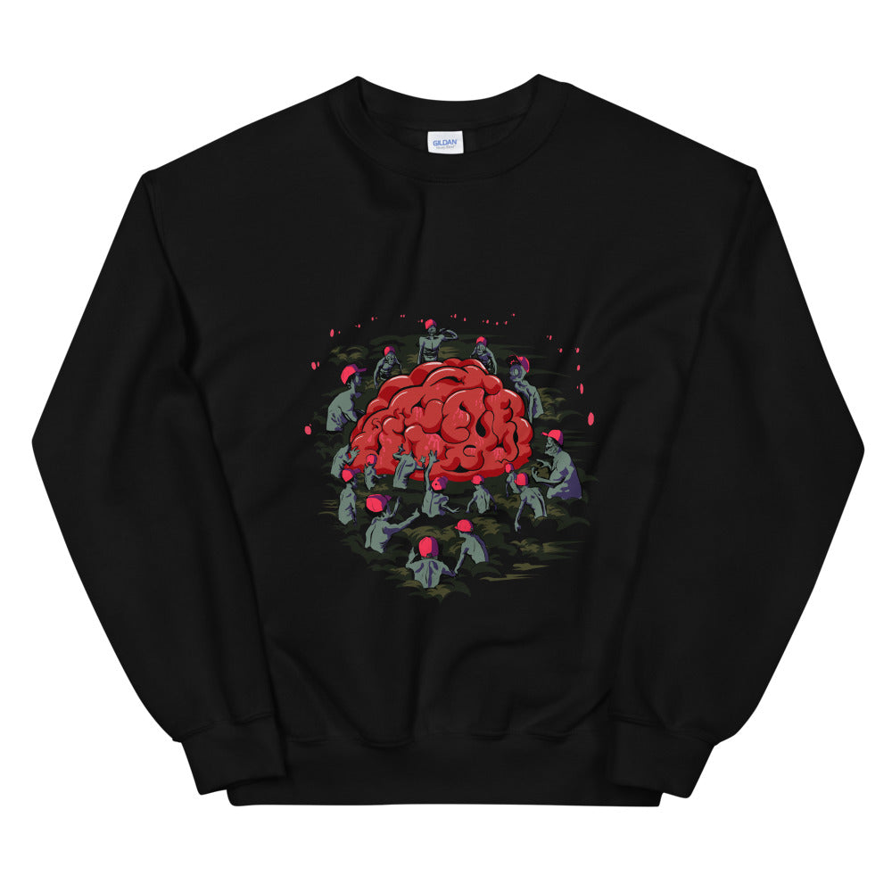 Zombies in Red Hats reaching for Brain Sweatshirt - Chodmunch