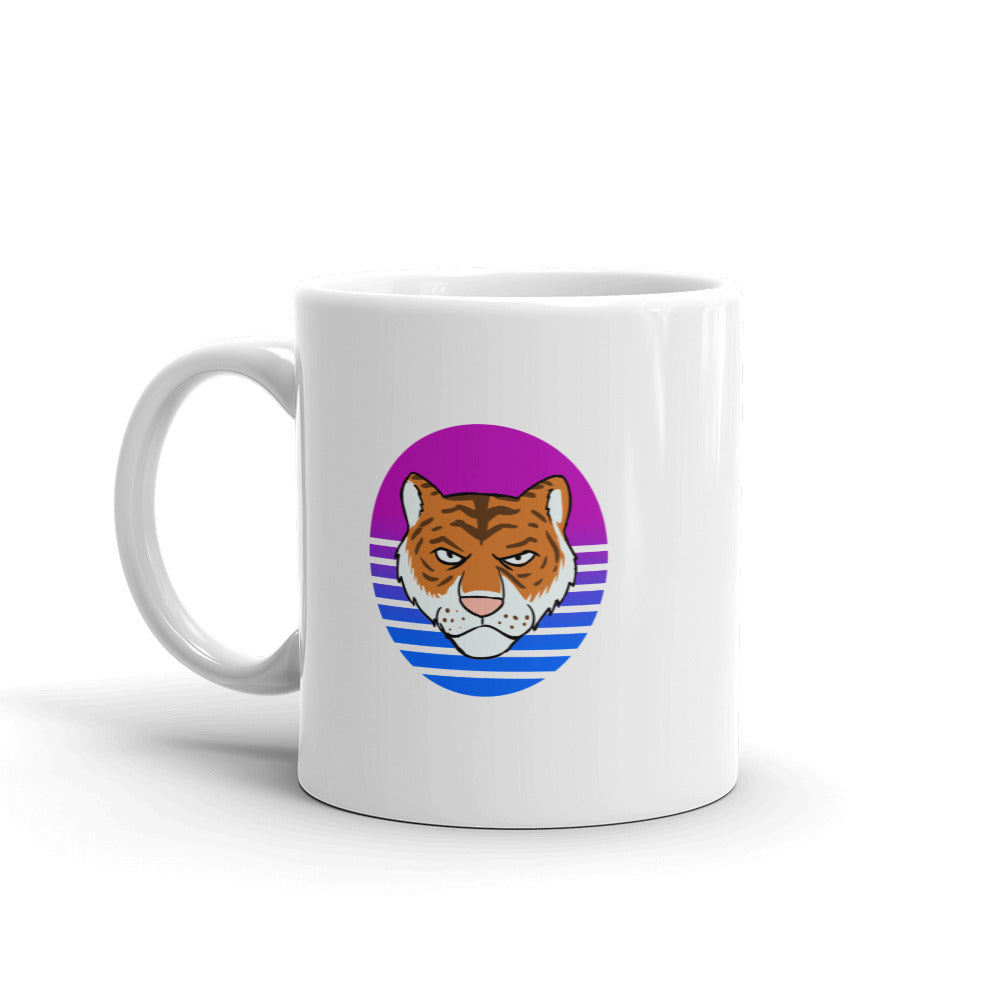 Tiger Retro White Mug - Chodmunch