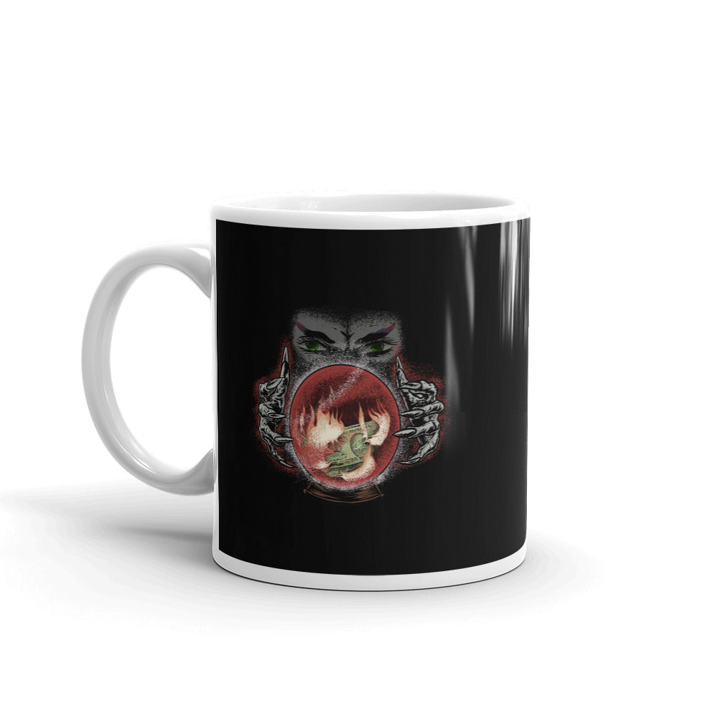 Psychic with Fire and Money in Crystal Ball Black Mug - Chodmunch