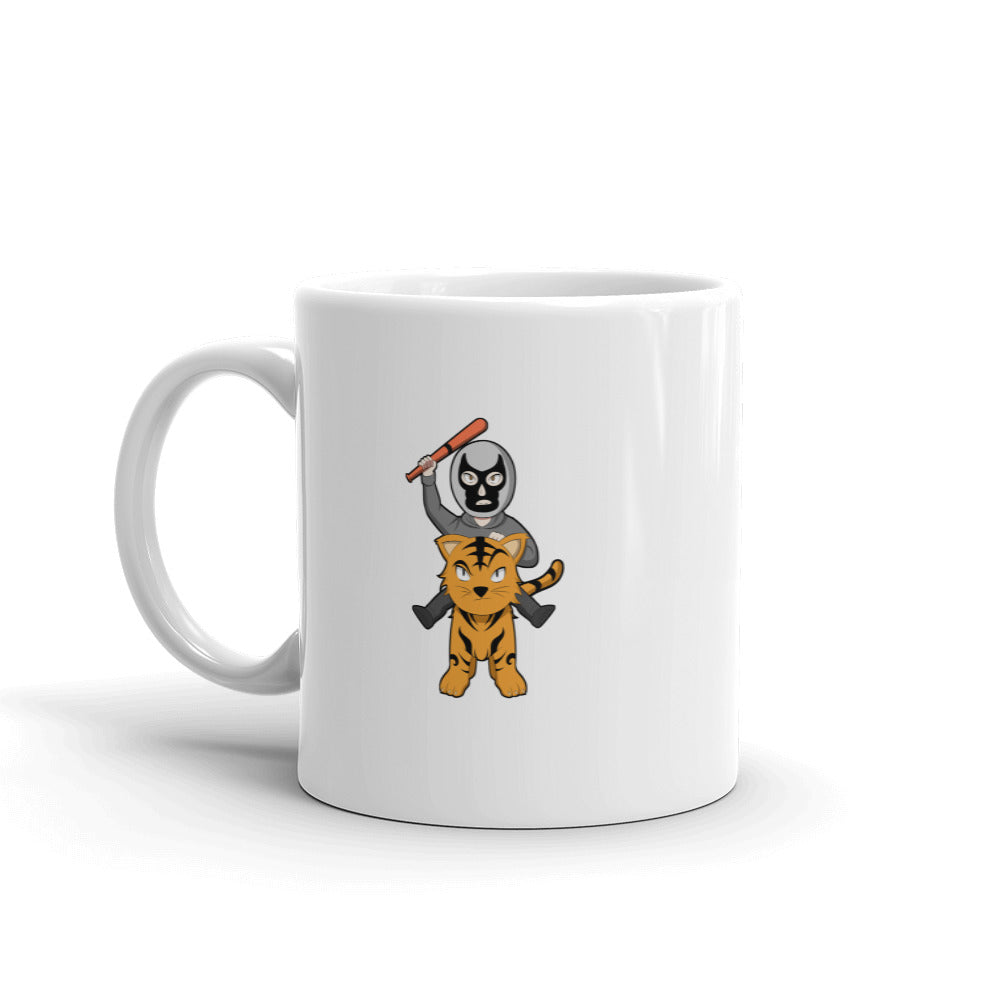 Masked Man Riding Tiger Retro Sun Chibi Logo Mug - Chodmunch