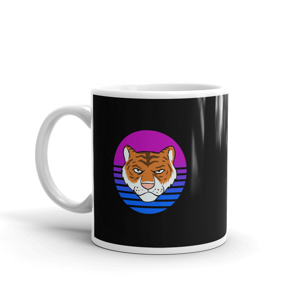 Tiger Retro Black Mug - Chodmunch