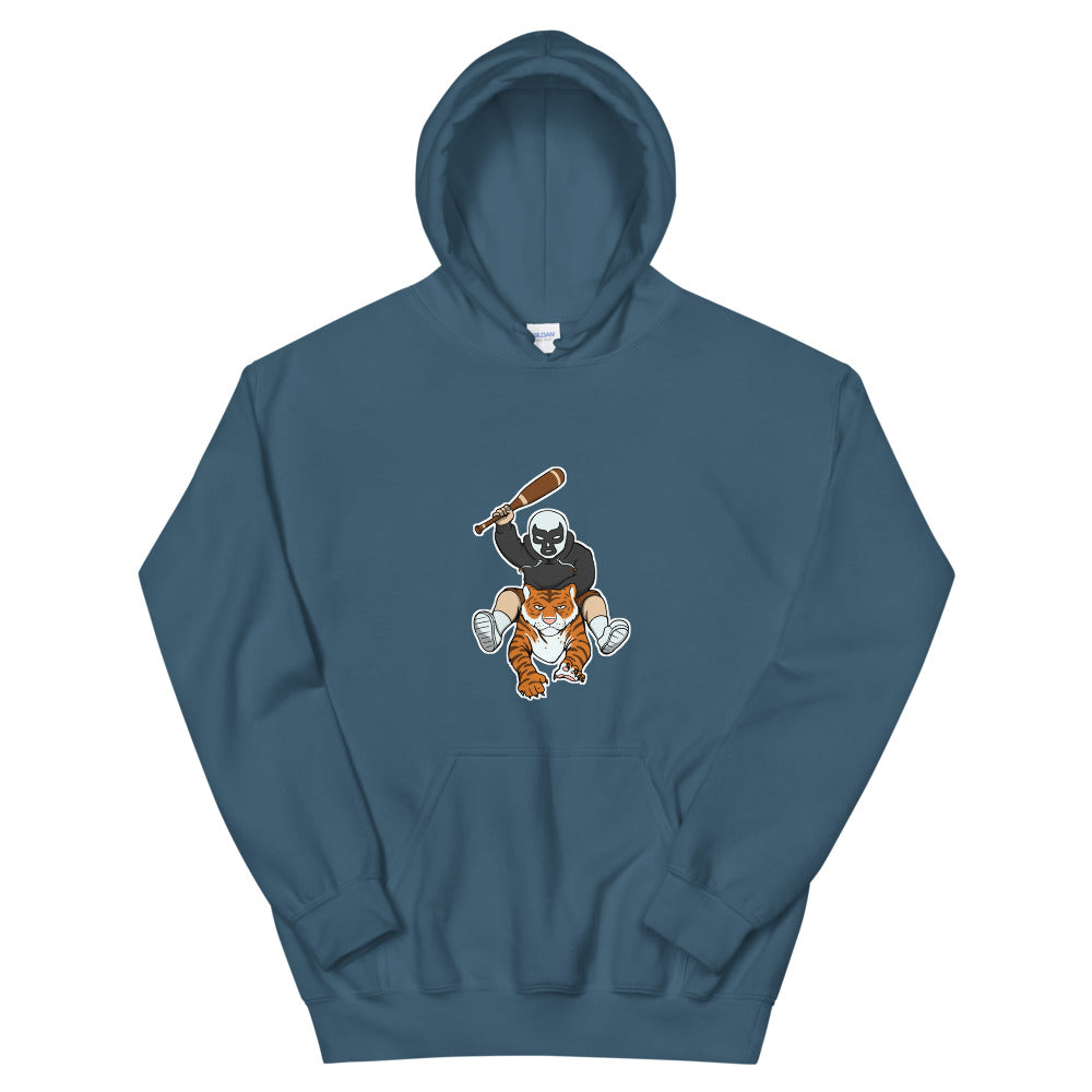 Masked Man Riding Tiger Hooded Sweatshirt - Chodmunch