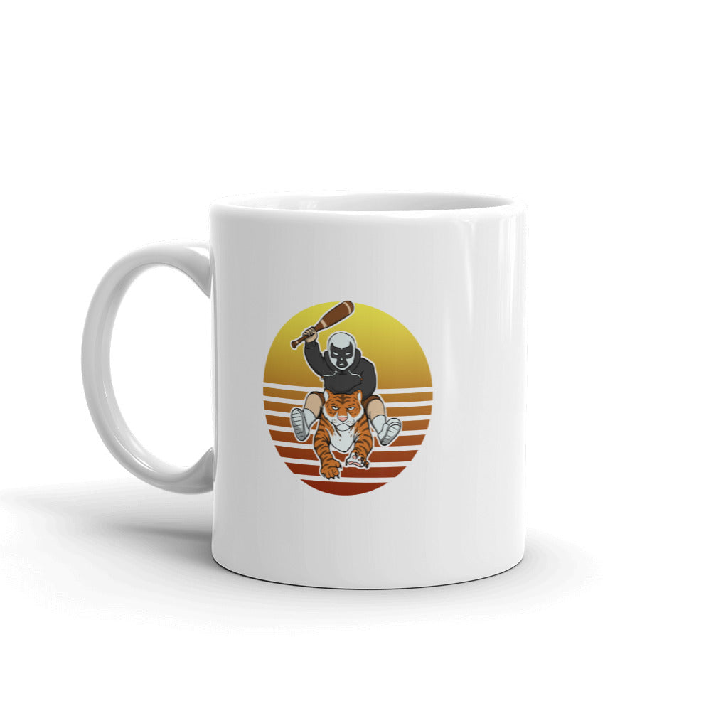 Masked Man Riding Tiger Retro Sun White Mug - Chodmunch