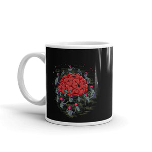 Zombies in Red Hats reaching for Brain Black Mug - Chodmunch