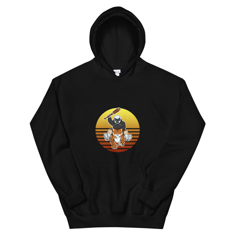 Masked Man Riding Tiger Retro Sun Hooded Sweatshirt - Chodmunch