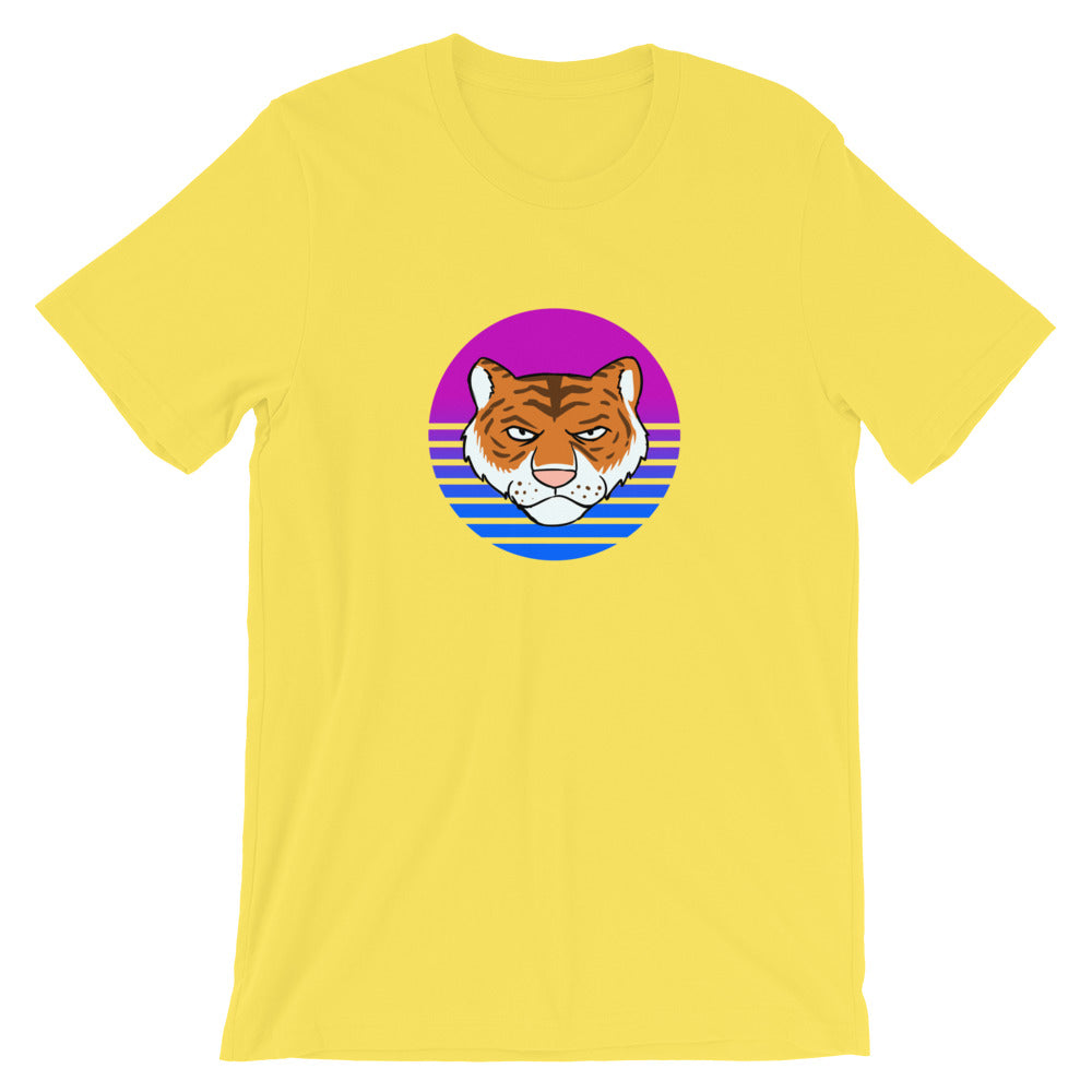 Tiger Retro Blue Sun T-Shirt - Chodmunch