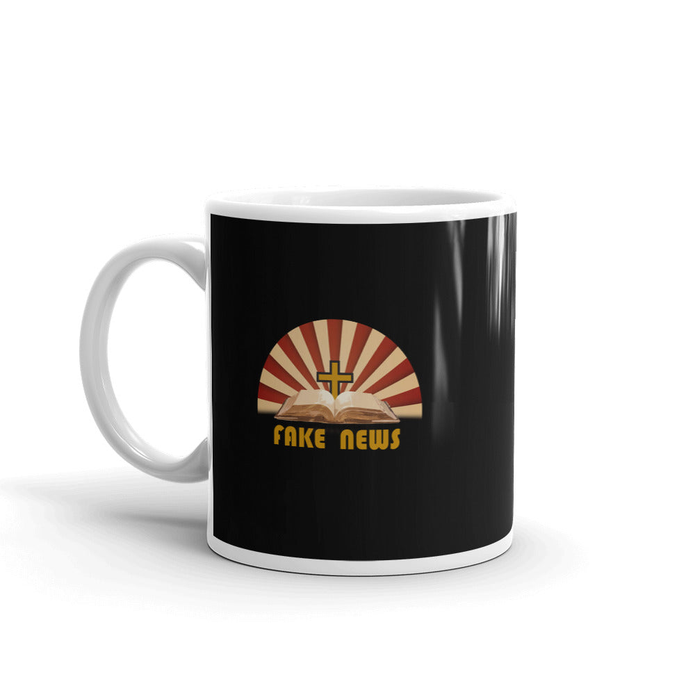 Fake News Bible Black Mug - Chodmunch