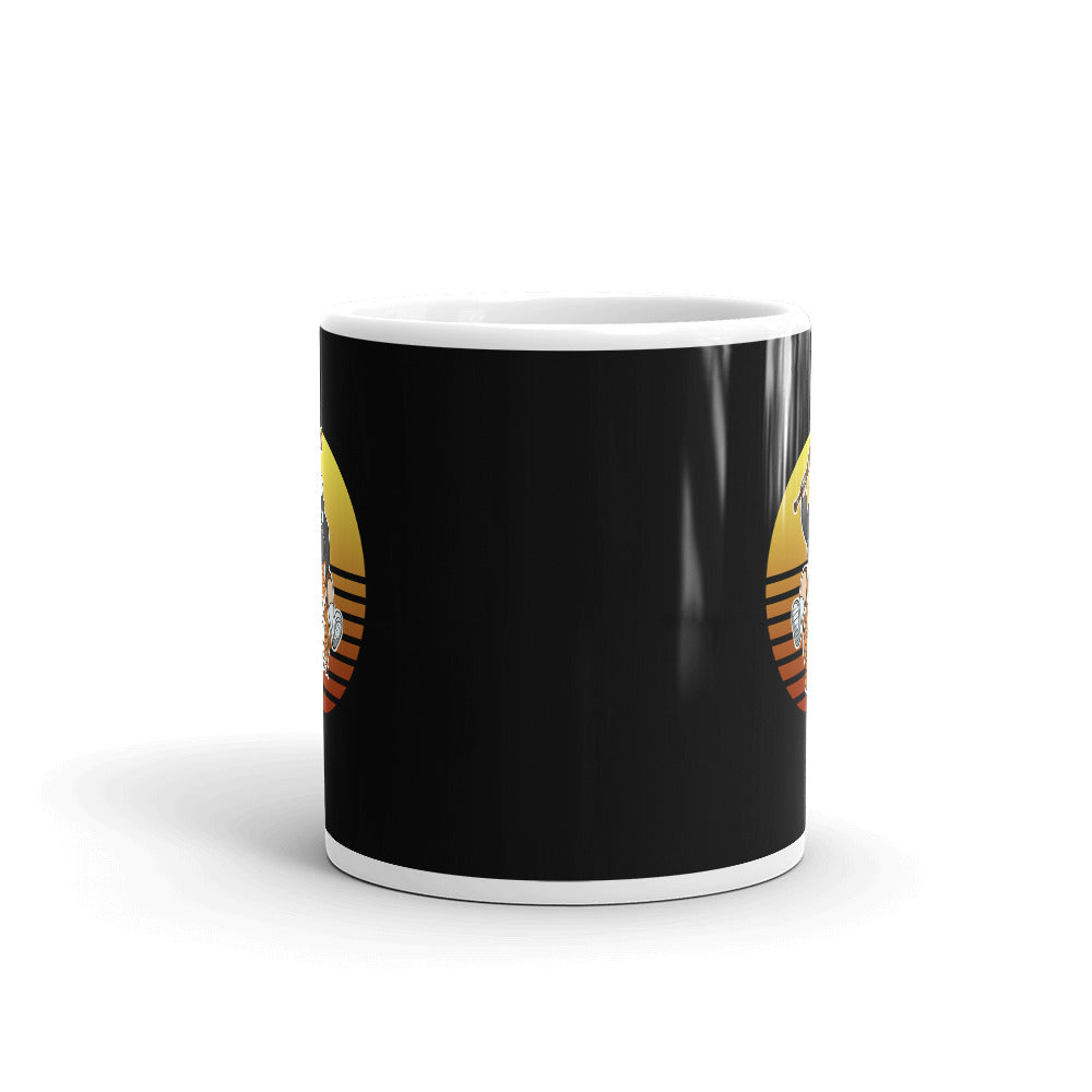 Masked Man Riding Tiger Retro Sun Black Mug - Chodmunch