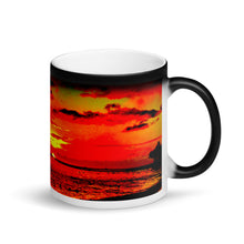 Load image into Gallery viewer, Waikiki Sunset Matte Black Magic 11oz Coffee Mug