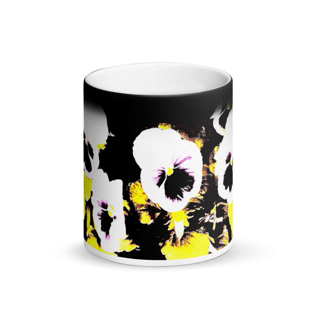 White Pansy's Matte Black Magic 11oz Coffee Mug
