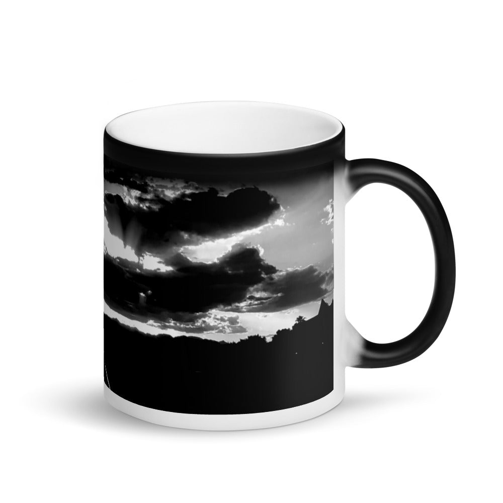Sunset RailRoad Tracks 11oz Matte Black Magic Coffee Mug