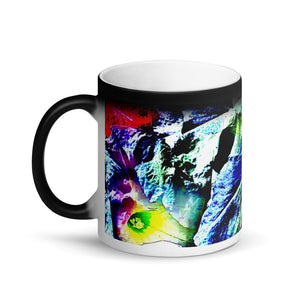 Multi Colored Pansies Matte Black Magic 11oz Coffee Mug
