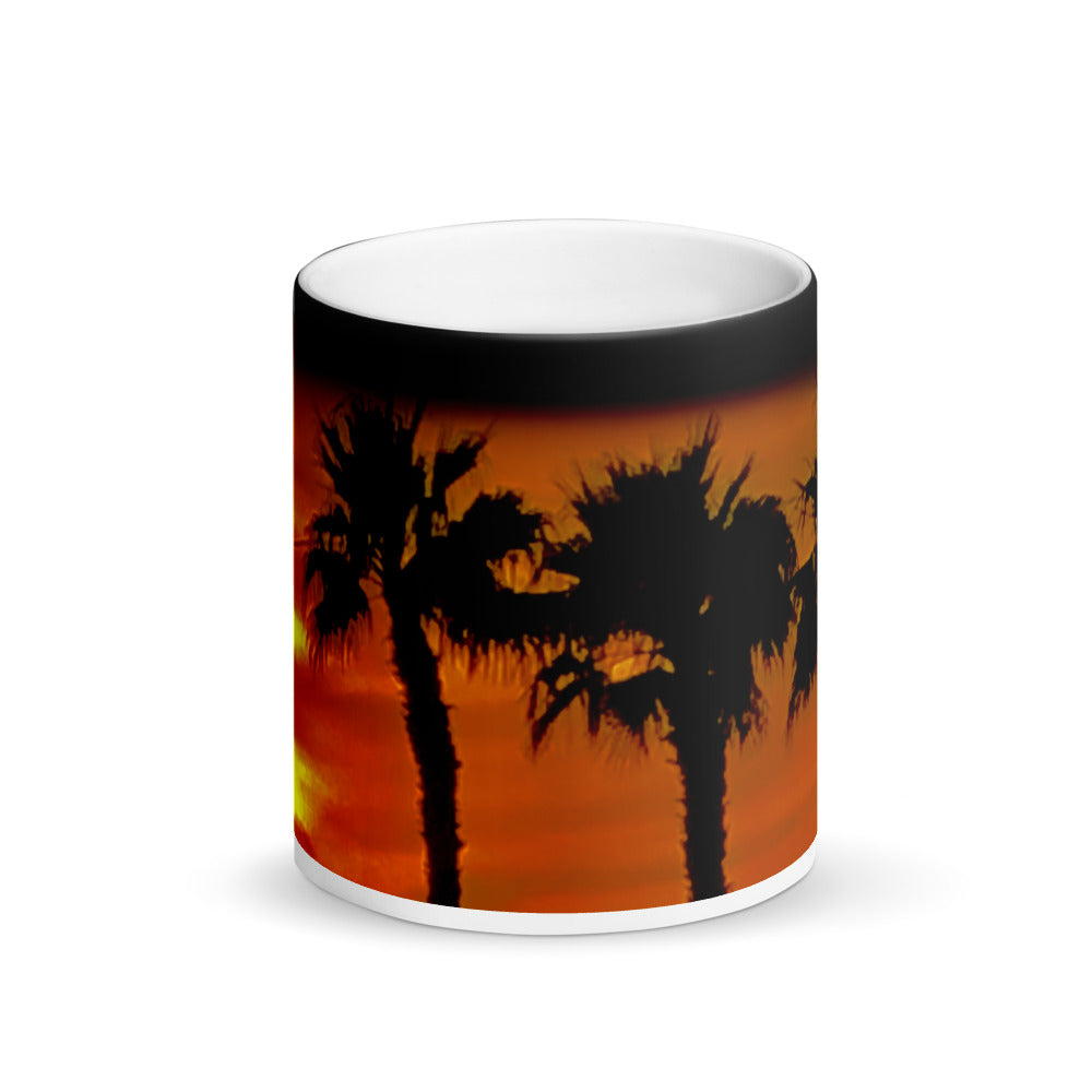 Warm Springs Palms Matte Black Magic 11oz Coffee Mug