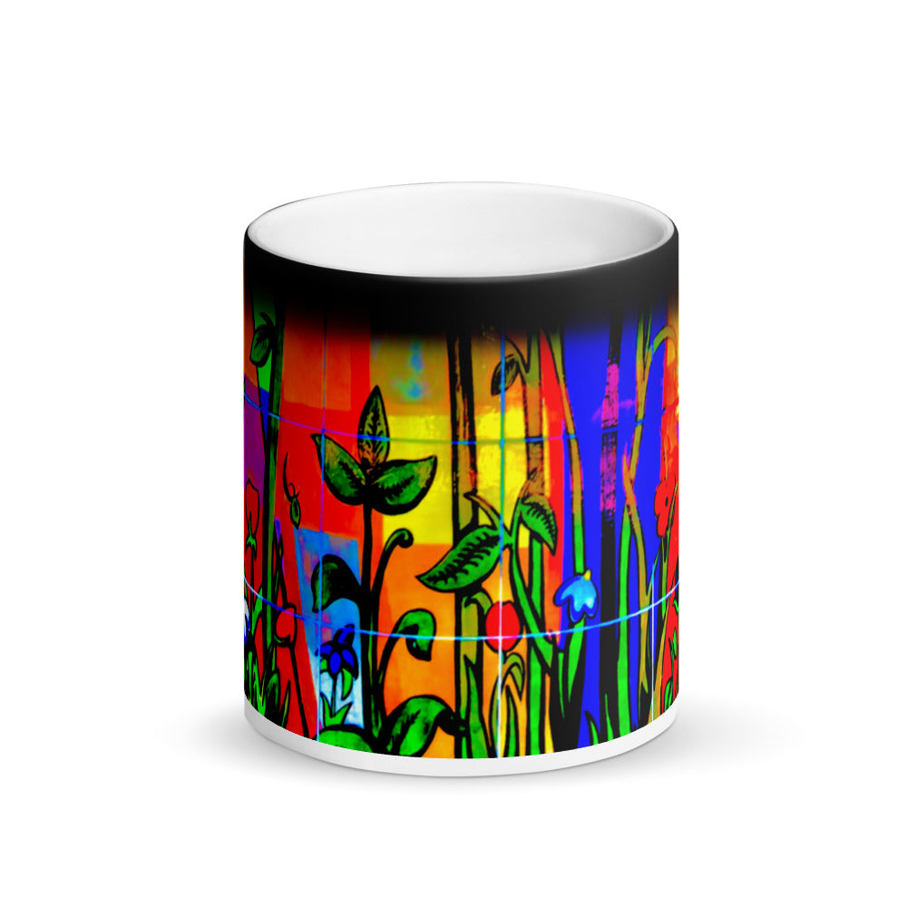 Abstract Bamboo Matte Black Magic 11oz Coffee Mug